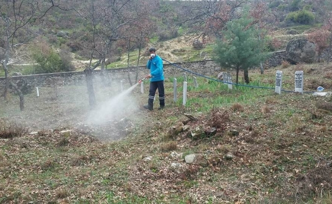 Gördes'in mezarlıkları ilaçlanıyor