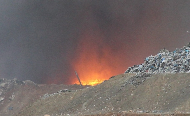 Manisa'da çöplükte yangın