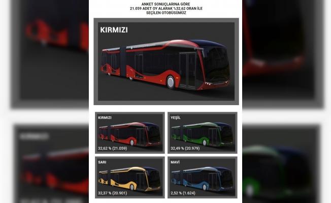 Elektrikli otobüslerin rengini için oylamada kırmızı seçildi