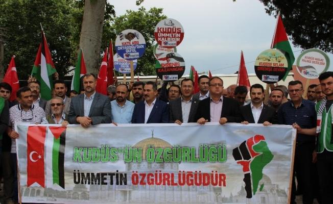 Manisa'dan İsrail ve Fransa'ya tepki, Filistin'e destek