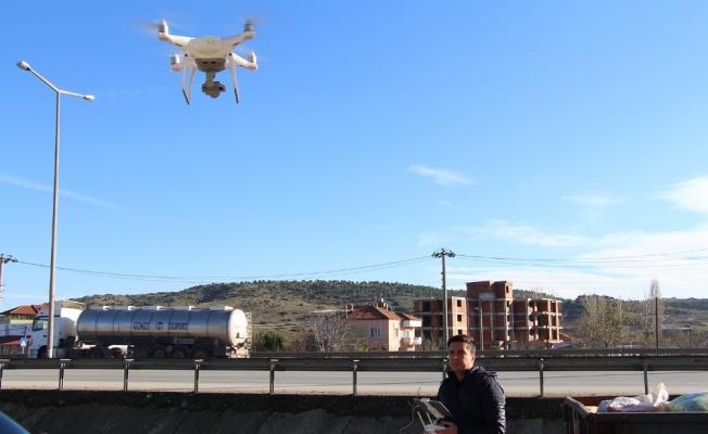 Trafik ekiplerinden droneli uygulama