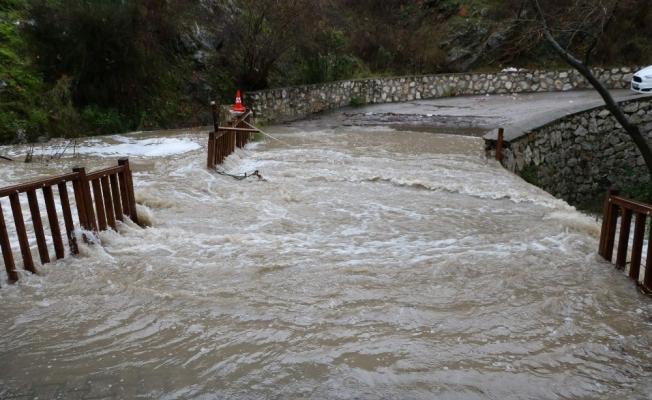 Sel suları köprüyü aştı, görenler hatıra fotoğrafı çekildi