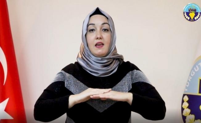 Turgutlu Belediyesinden işaret diliyle korona virüs bilgilendirmesi
