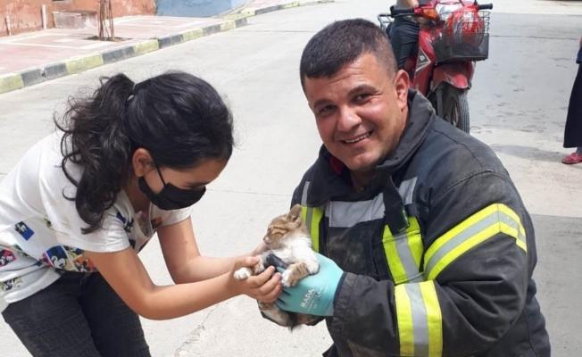 Araçta mahsur kalan yavru kedi kurtarıldı