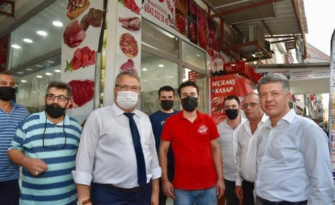 Başkan Çerçi Milletvekili Özkan'la esnaf ziyareti yaptı