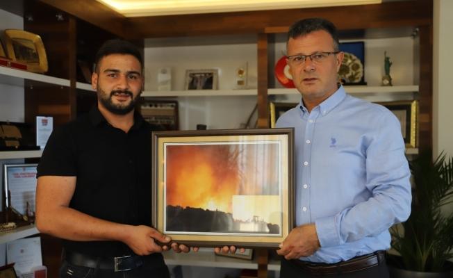Yangınların söndürülmesinde destek olan firmalara 'teşekkür plaketi'