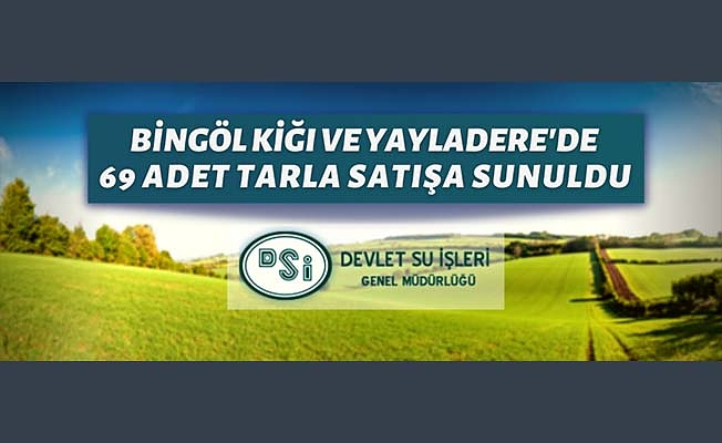 Bingöl'ün Kiğı ve Yayladere bulunan tarım arazileri ihaleyle satılacak