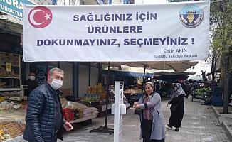 Turgutlu Belediyesinden pazar yerlerine el dezenfektanı