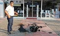 (Özel) Yetkili servise kızıp mağaza önünde yazıcısını parçaladı