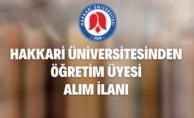 Hakkari Üniversitesi Rektörlüğünden Akademik Personel Alım İlanı